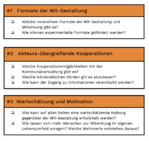Grafik der Urbanen Liga, die die Kernfragen des Denklabors in drei Kategorien zusammenfasst.
